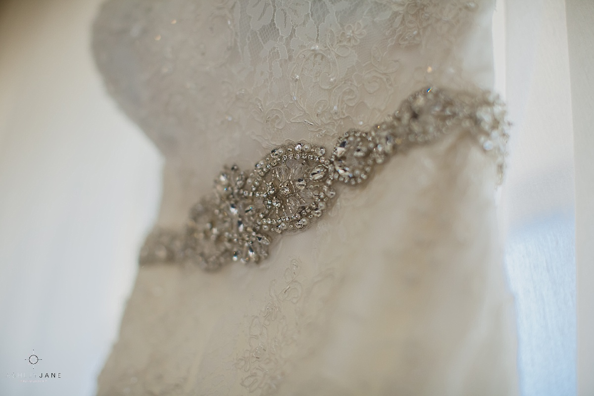 wedding dress beading detail