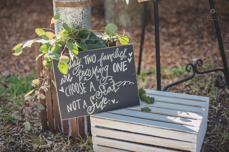 take a seat not a side sign for wedding ceremony rustic
