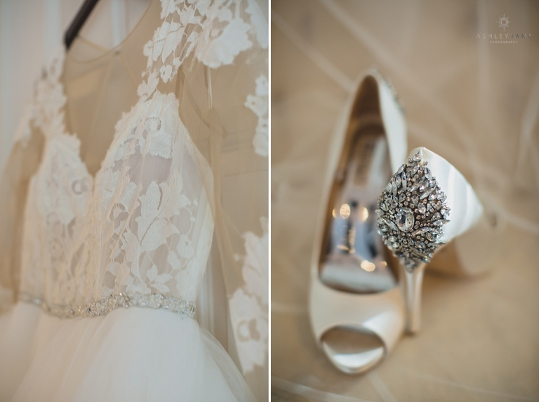 ashley paige wedding gown ivory and crystal pumps