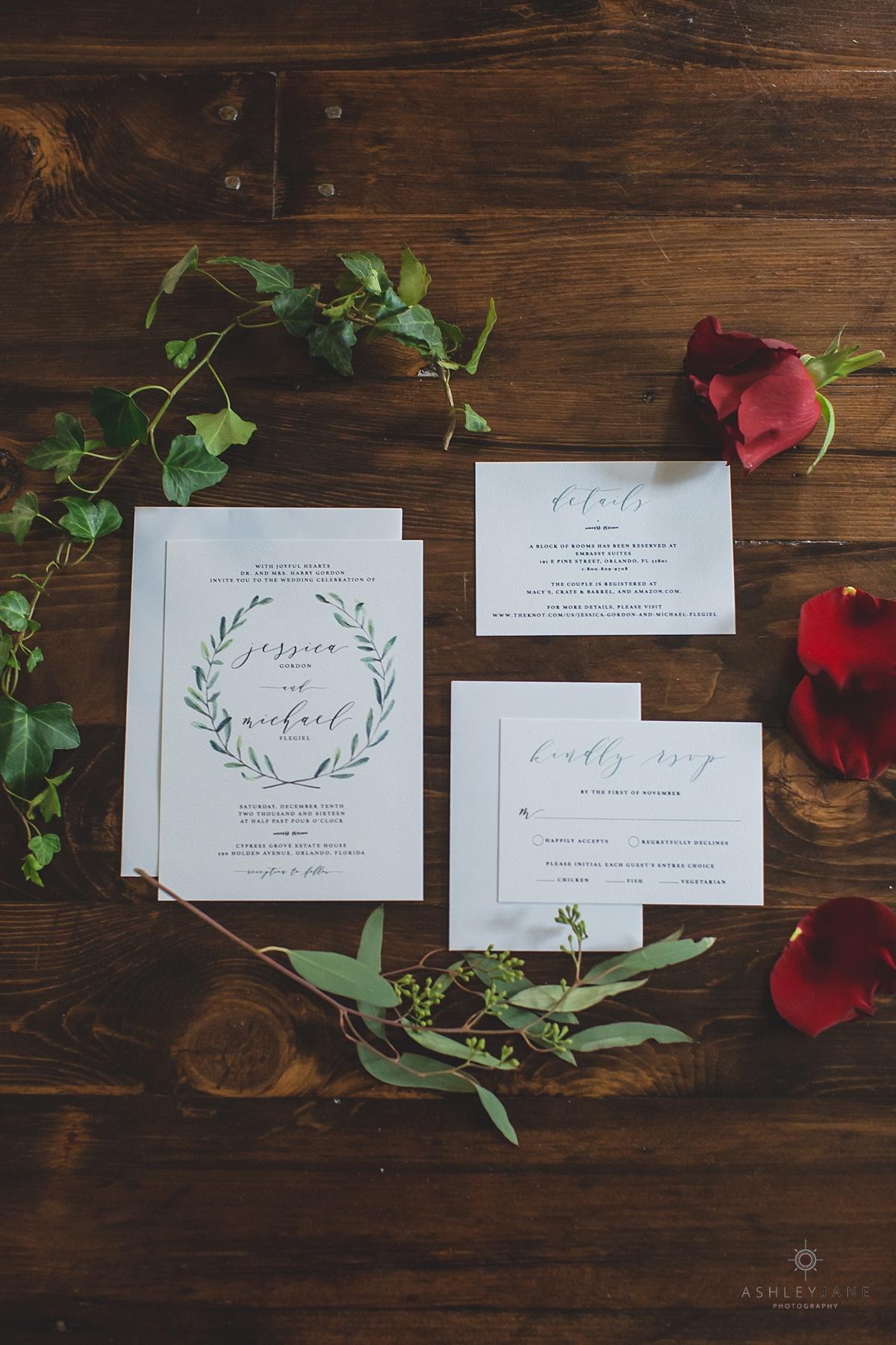Elegant Rustic Cypress Grove Estate House Wedding Invitation suite