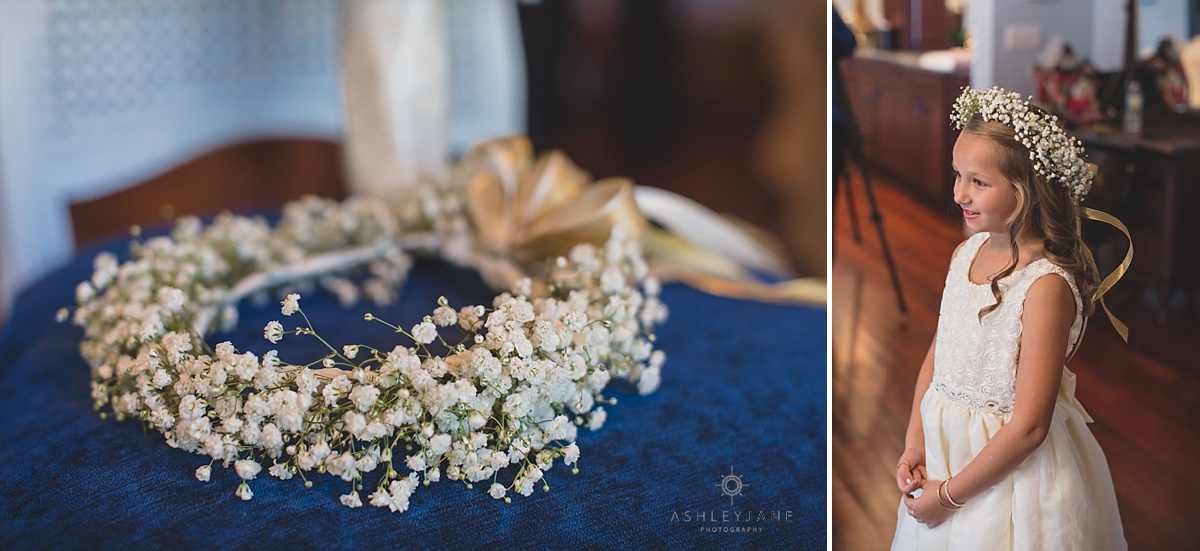Luxmore Grande Estate | Southern Glam Wedding | Ashley Jane Photography flower girl details babys breath flower crown