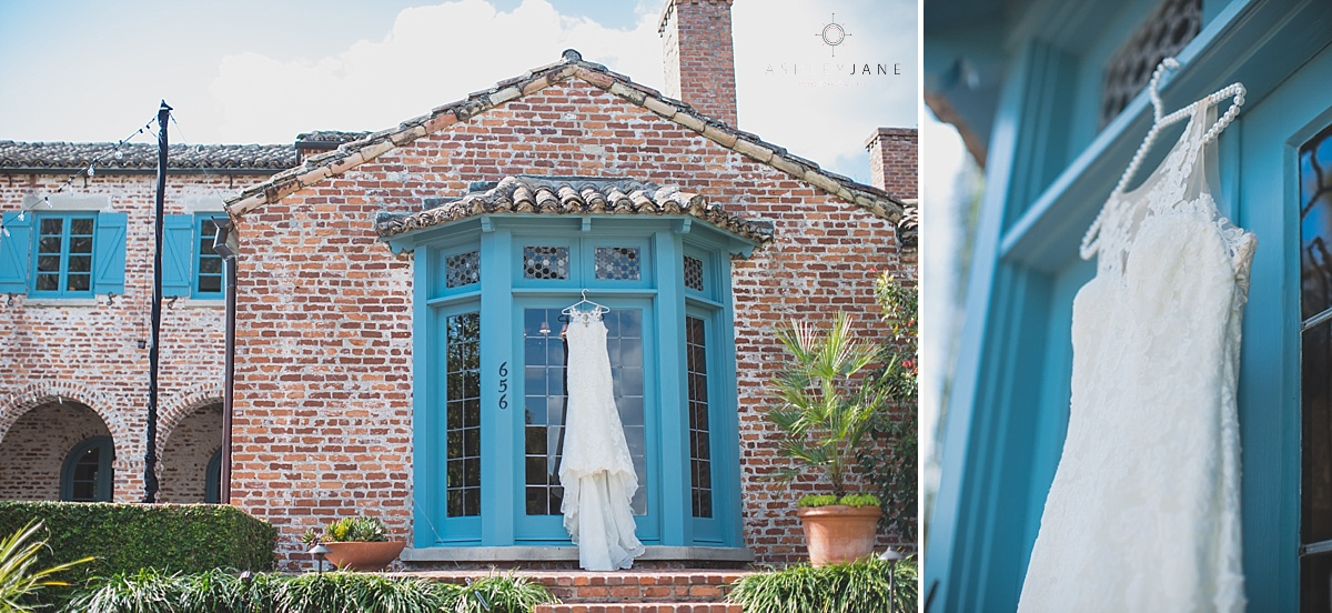 Casa Feliz | Lilac Garden Party Wedding brick chateau casa feliz trumpet gown hanging from blue shutters