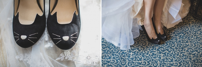 Black and white bridal heels with cat whiskers detail