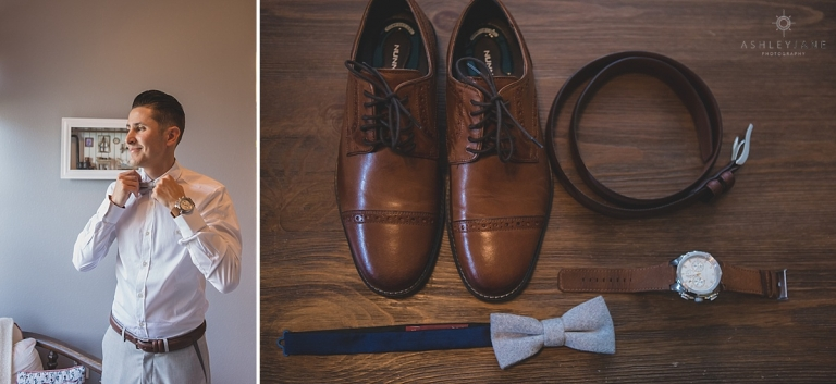 Groom getting ready in his Burberry classic white button down and accessories