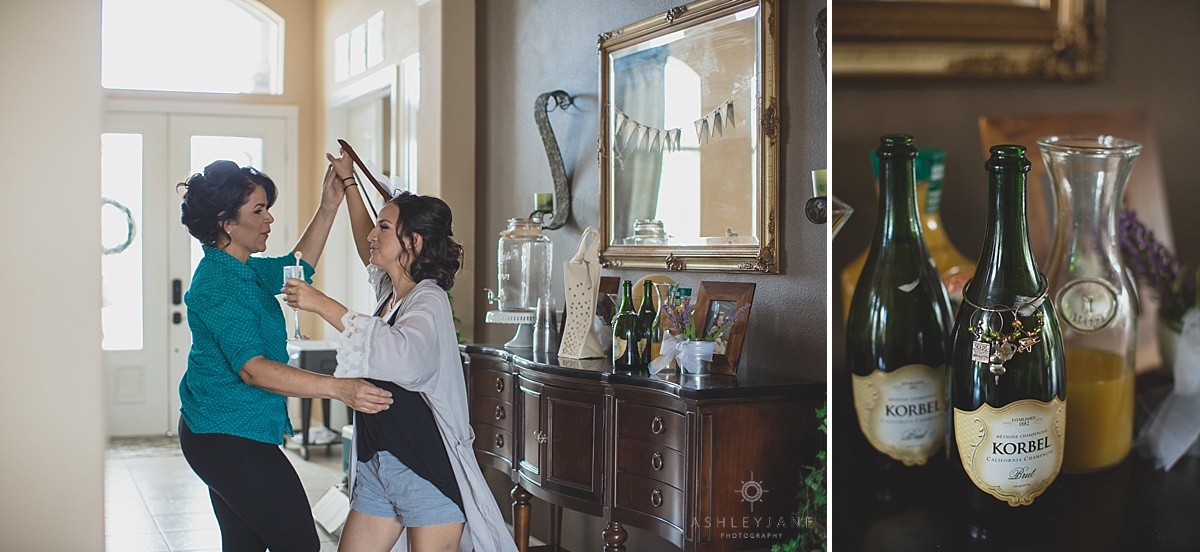 Maid of Honor and Mother of the Bride dancing while drinking mimosas and getting ready