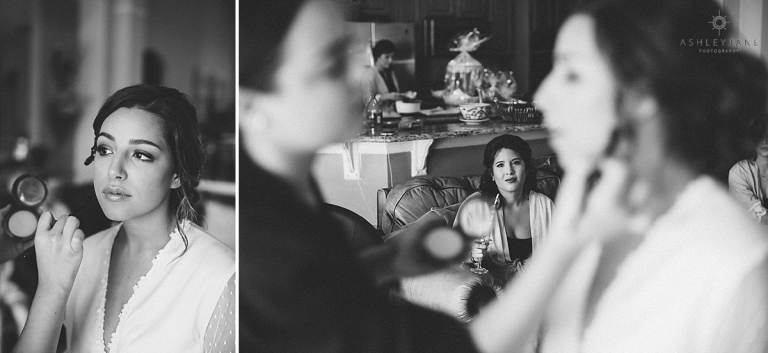 Bride getting her makeup done on her wedding day