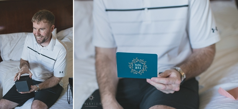 Groom reading a letter from his bride on their wedding day