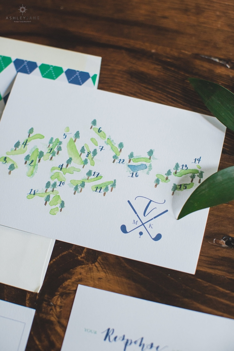 River Hills Country Club illustrated map invitation