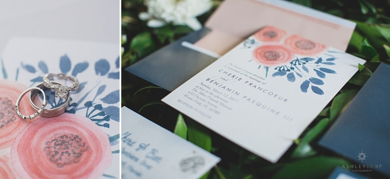 Navy and coral invitation suite
