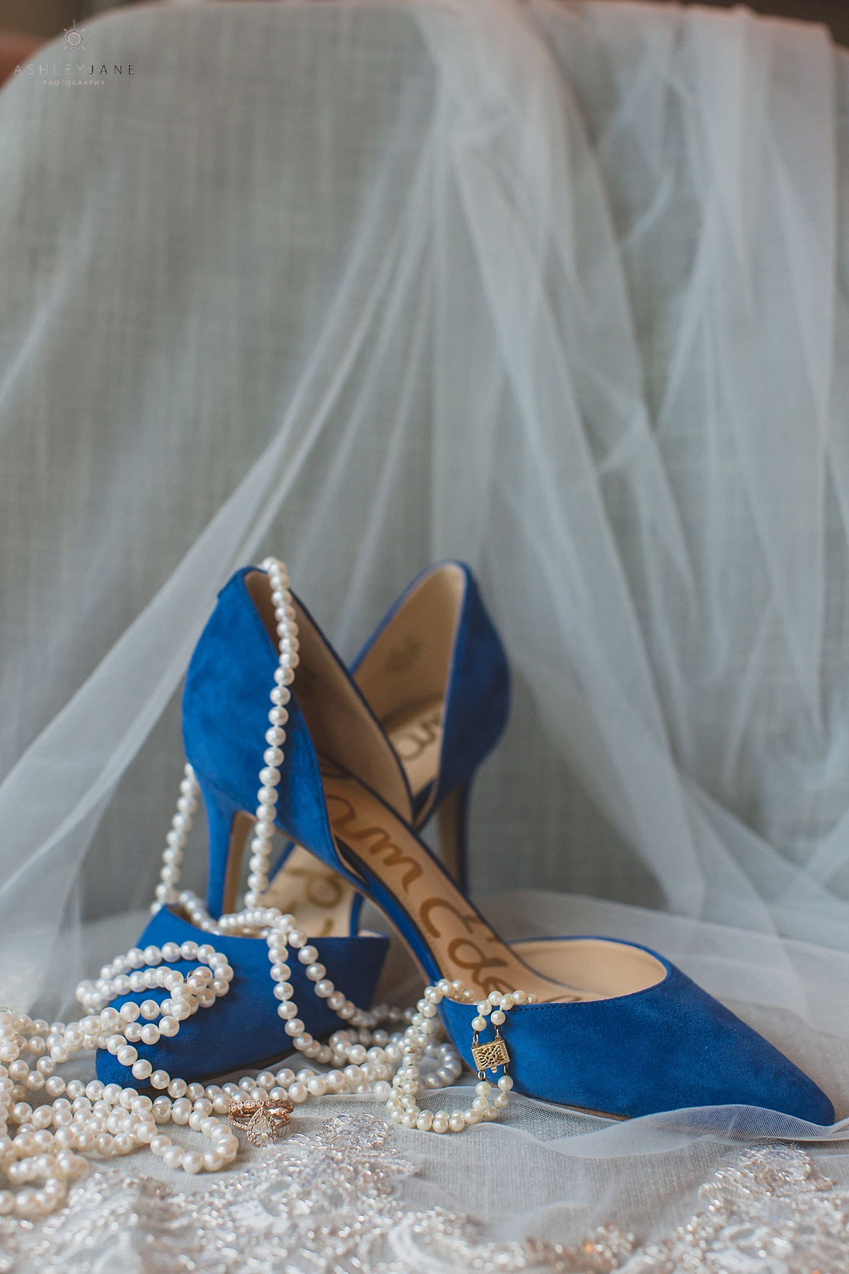 Sam Edelman blue heels and pearls for bride's accessories