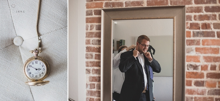 Groom getting ready on his wedding day with a touch of vintage watch caught by orlando wedding photographer