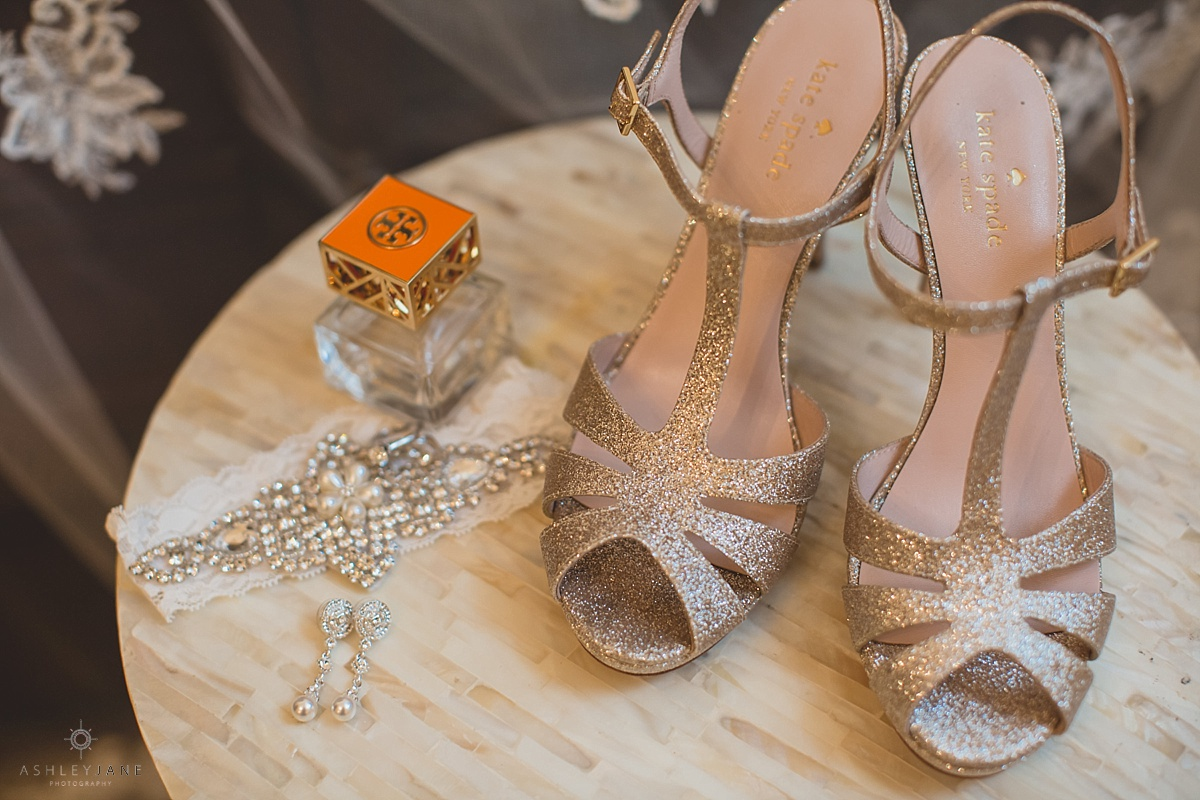 Romantic Blush Royal Crest Room Wedding | Kate Spade bridal heels and jewelry