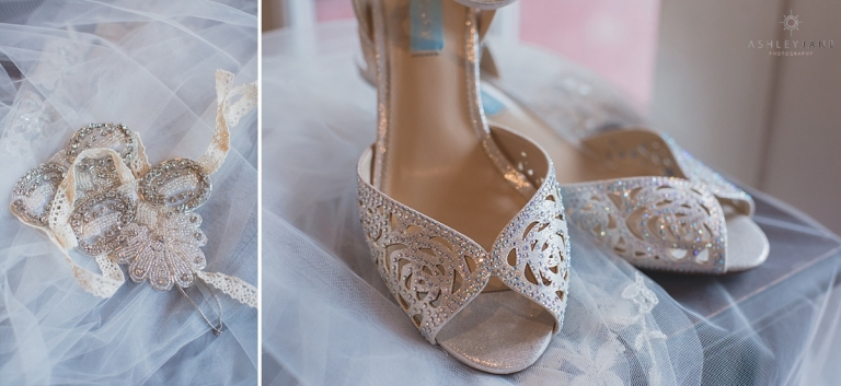 Brides wedding day details, ivory Betsy Johnson heels shot by award winning Orlando Wedding Photographer